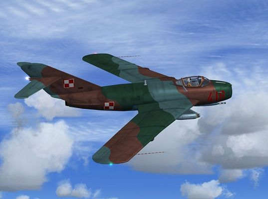 click to free download the wallpaper--Paris Air Show Screenshot, Poland Air Force MiG-17Lim5 in Flight