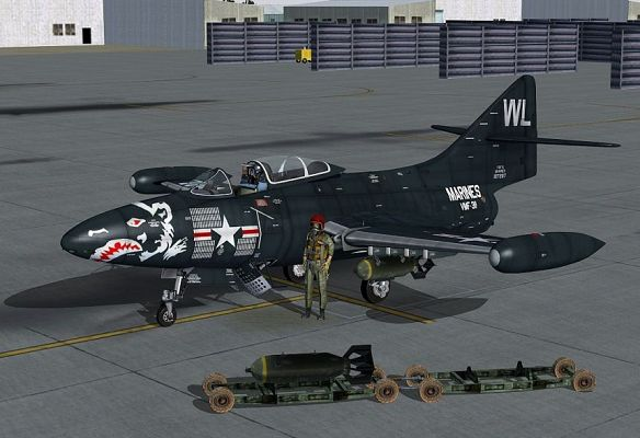 click to free download the wallpaper--Paris Air Show Screenshot, US Marines Grumman F9F Panther on the Ground