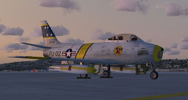 click to free download the wallpaper--Paris Air Show, US Air Force F-86 Sabre NX186AM on the Ground