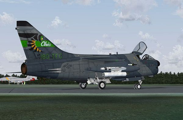 click to free download the wallpaper--Paris Air Shows Image, A-7 Corsair II 180th TFG on the Ground