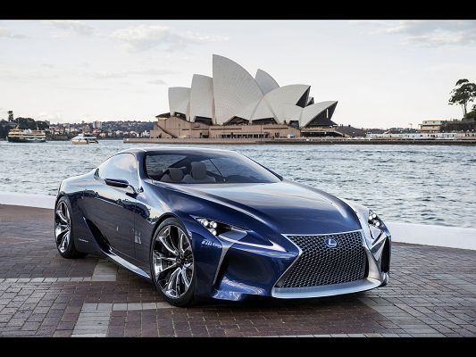 click to free download the wallpaper--Photos of Cars - A Blue Super Car by Seaside, Sydney Opera House on the Surface, Both Good-Looking