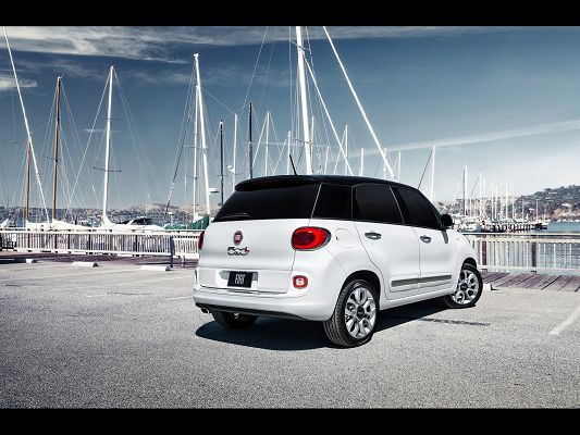 click to free download the wallpaper--Photos of Super Car, Fiat 500L in Front of the Sea, White Bridges Around, Shall Strike a Deep Impression