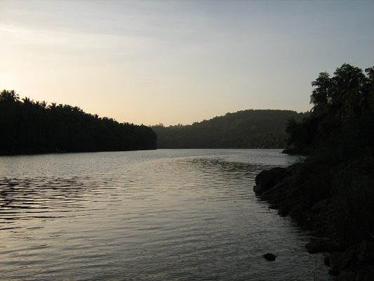 Pic of Nature Landscape, a Quite River, About to Fall Asleep, Dusk Scene