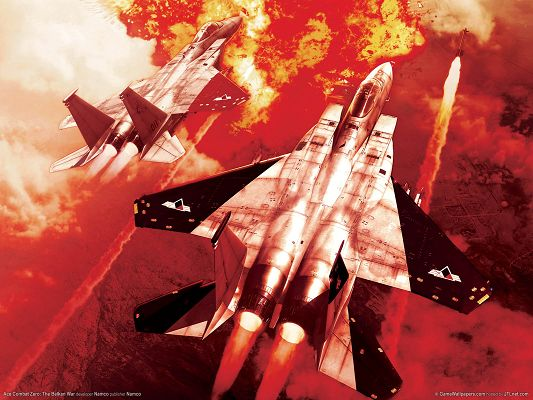 click to free download the wallpaper--Pics of Aeroplanes, Two Planes in Ashes, Have Been Flying Long, Must be in Severe Battle