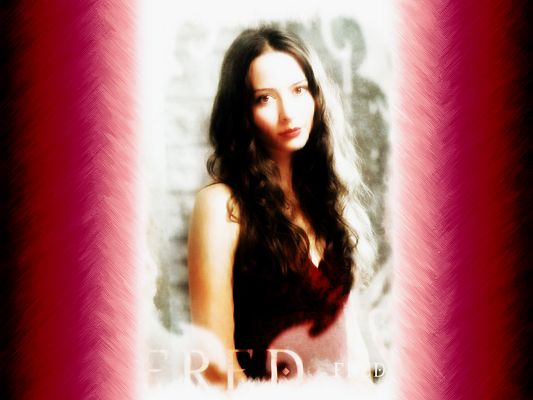 Pics of Beautiful Actresses, Amy Acker in the Middle of Pink Background, the Dreamy Girl
