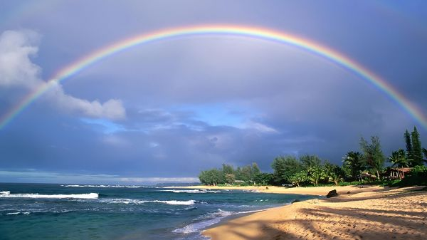 click to free download the wallpaper--Pics of Beautiful Beach Scene - A Rain is Gone, Rainbow Thus Shows Up Over the Beach, Amazing, Ah?