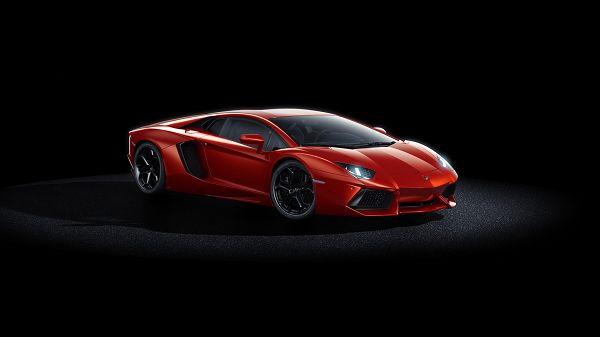 click to free download the wallpaper--Pics of Cars - Lamborghini Aventador Post in Pixel of 1920x1080, Red Super Car in Stop, Live Under Spotlight