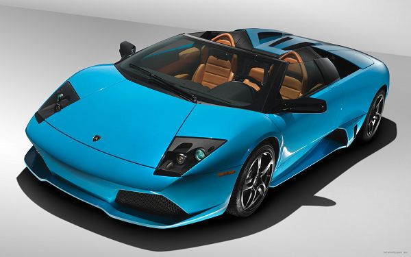 click to free download the wallpaper--Pics of Cars - Lamborghini Murcielago Post in Pixel of 2560x1600, Blue Super Car in Stop, No Wonder It is a Super Car
