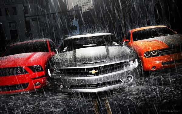 click to free download the wallpaper--Pics of Cars - Mustang Camaro Dodge Post in Pixel of 1920x1200, Three Cars Stopped in Rainy Scene, They Shall Grab Much Attention