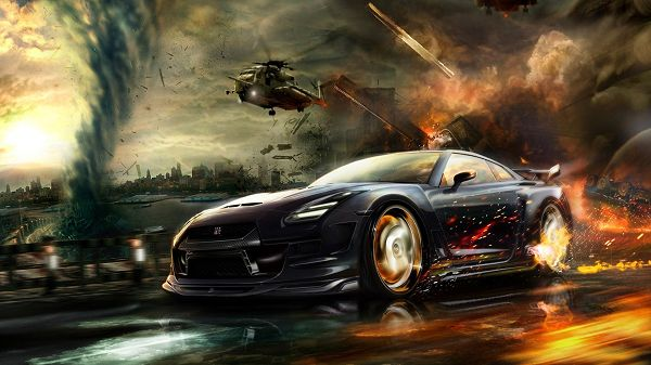 click to free download the wallpaper--Pics of Cars - Nisaan GTR Race Post in Pixel of 1920x1080, Cool Car Escaping from an Explosion, Great Speed