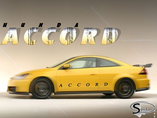 click to free download the wallpaper--Pics of Cars, Yellow Hunda Accord is in the Run, Light Gray Background, Shall Strike an Impression