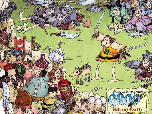 click to free download the wallpaper--Pics of Free Cartoon, Adventures of Groo, the Guts Are Kind, Funny Facial Expression
