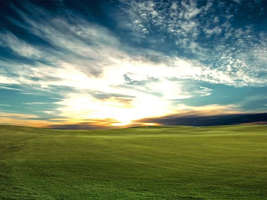 Pics of Nature Landscape, the Setting Sun, Bliss in the Sky, Green Grass Beneath