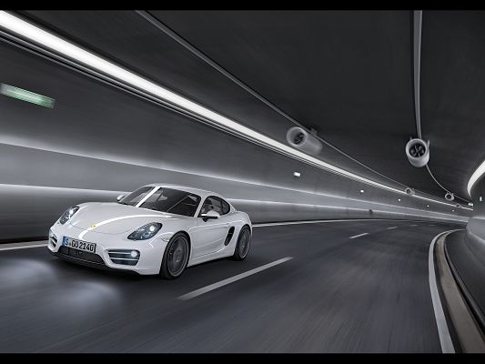 click to free download the wallpaper--Pics of Super Cars, Porsche Cayman in Tunnel, Bright and Shinning Light, Shall Strike a Deep Impression