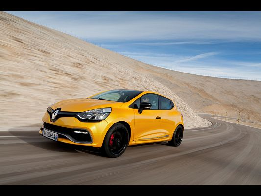 click to free download the wallpaper--Pics of Super Cars, Renault Clio RS on a Slope, Speed is Never a Concern