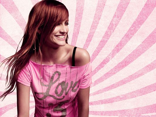 click to free download the wallpaper--Picture of Actress, Ashlee Simpson in Red Hair, Impressive Smile