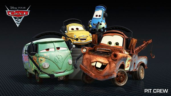 click to free download the wallpaper--Pit Crew in Cars 2 Post in 1600x900 Pixel, A Group of Old and Dirty Cars, They Are Smiling and Optimistic, a Great Example - TV & Movies Post