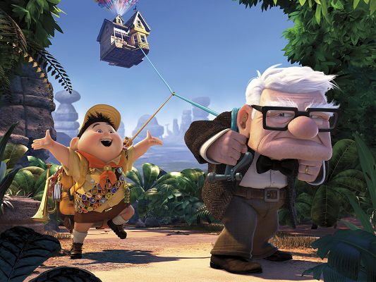Pixar's UP Movie Post Available in 1920x1440 Pixel, the Full House Pulled by the Old Man, Boy is Not Helpful, He is Just Happy - TV & Movies Post
