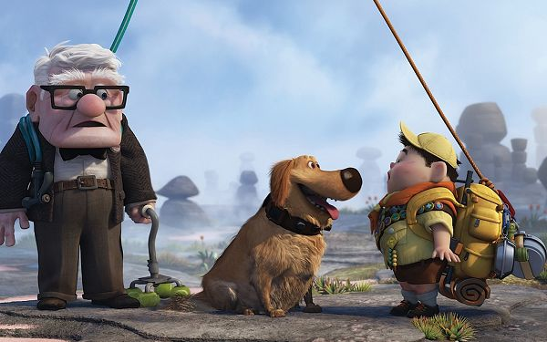 Pixar's UP Movie Post in 1280x800 Pixel, the Old Man is Curious About What is Happening, the Other Two Are Happy and Laughing - TV & Movies Post