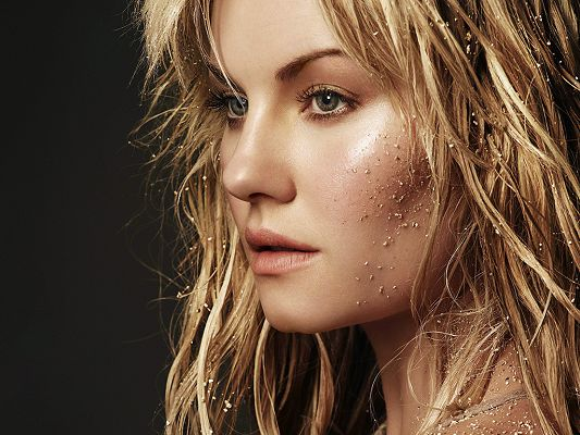 click to free download the wallpaper--Played in House of Wax, FOX's 24 and ABC's Happy Endings, Messy Scene Can Also be Attractive - Free Elisha Cuthbert Wallpaper
