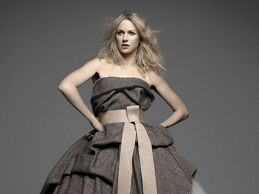 Played in The International, Mother and Child and Fair Game, in Grey Dress and Blond Flying Hair, Can't be More Appealing - HD Naomi Watts Wallpaper