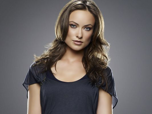 click to free download the wallpaper--Played in Year One and FOX's House M.D, in Blue Dress and Exquisite Hairstyle, Light Black background, She Can't be More Beautiful - HD Olivia Wilde Wallpaper