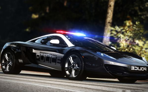 Police Car Wallpaper, Black Super Car, in the Process of a Task