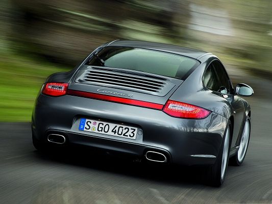 click to free download the wallpaper--Porsche Camera 4 Wallpaper, Gray Super Car in Full Speed, Dizzy Scenery Around