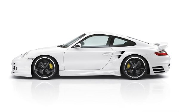 click to free download the wallpaper--Porsche Car Wallpaper, White and Decent Car in the Stop, Greatly Attractive