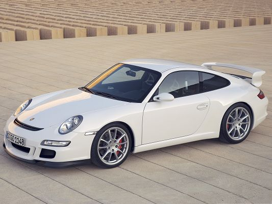 click to free download the wallpaper--Porsche Car as Background, White and Decent Car in the Stop, Smooth Great Lines