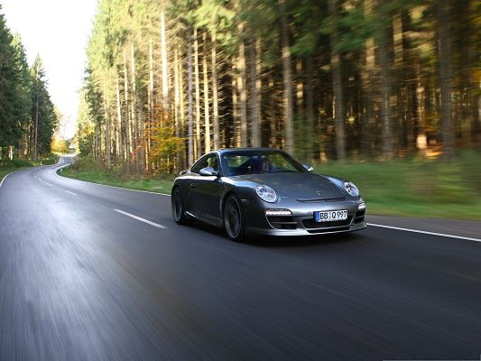 Porsche Car as Wallpaper, Gray Super Car in the Run, Great Nature Landscape Alongside