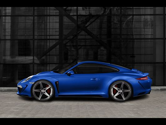 click to free download the wallpaper--Porsche Carrera 4 in Blue, Stopping Against a Black Wall, TopCar Pics Are Good and Fit
