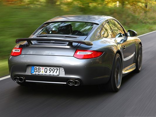 click to free download the wallpaper--Porsche Cars as Wallpaper, Gray Super Car in Great Speed, Great Landscape Alongside