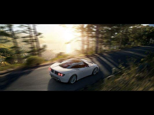 Post of Super Cars, Spyker-B6 Venator Concept on the Road, Running Among Forest, Sunlight Pouring on It