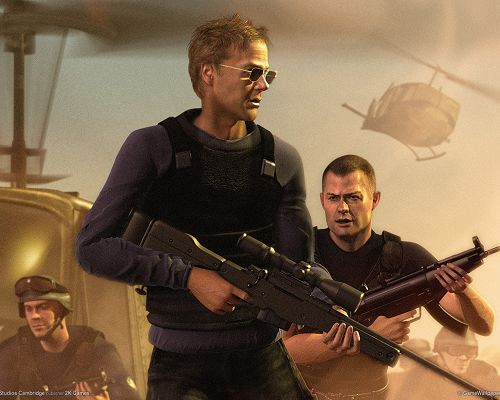 click to free download the wallpaper--Post of TV/Movies, Three Guys, Two in Guns, the One in the Front is Really Cool