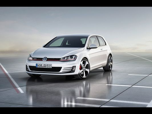 Post of Top Cars, Golf 7 GTI in Stop, White and Crossed Background, a Great Fit