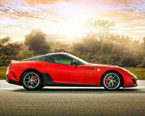 Poster of Super Cars, Red Ferrari 599 Among Great Scenery, the Pink Sky