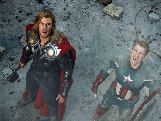 click to free download the wallpaper--Posters of TV & Movie, Thor and Captain, Looking Up High, Something Big Taking Place
