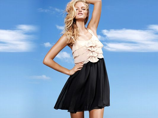 Posters of TV Show, Erin Heatherton in Simple and Elegant Dress, the Blue Sky as Background