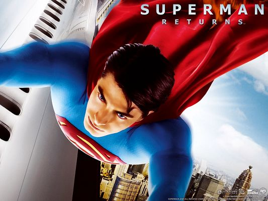 click to free download the wallpaper--Posts of TV & Movie, Superman in His Typical Suit, He is Nice-Looking and Welcomed