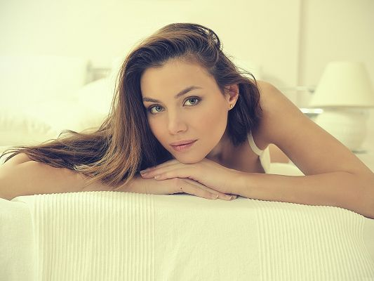 Pretty Girl Photos, in White Pure Dress, Lying on White Bed, She is Quite Impressive