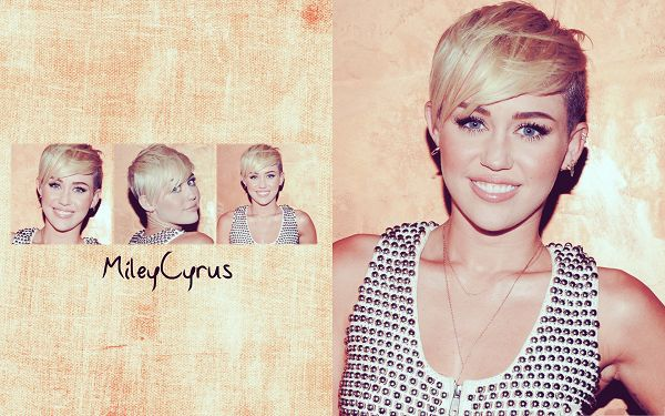 click to free download the wallpaper--Pretty Girl Pictures, Miley Cyrus in New Haircut, Sharp and Impressive