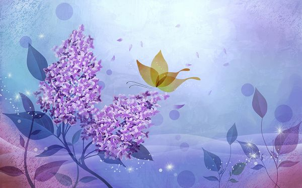 click to free download the wallpaper--Purple Flowers in Full Bloom, a Butterfly is Nearby, Shinning Effect is Added, an Impressive Scene - HD Colorful Painting Wallpaper