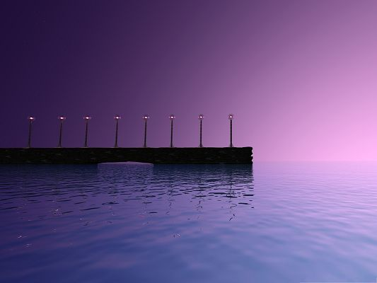 click to free download the wallpaper--Purple Sky Landscape, Crystal Clear Light, the Peaceful Sea