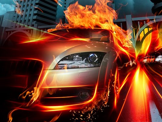 click to free download the wallpaper--Racing Car Background, Silver Car on Fire, Amazing and Impressive Look