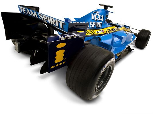 click to free download the wallpaper--Racing Car for Widescreen, Blue Renault F1 Car in Fast Speed, White Background