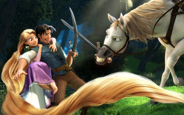 click to free download the wallpaper--Rapunzel & Flynn Post in Tangled in 2560x1600 Pixel, a Horse Out of Its Mind, a Gentleman Protective of His Girl - TV & Movies Post