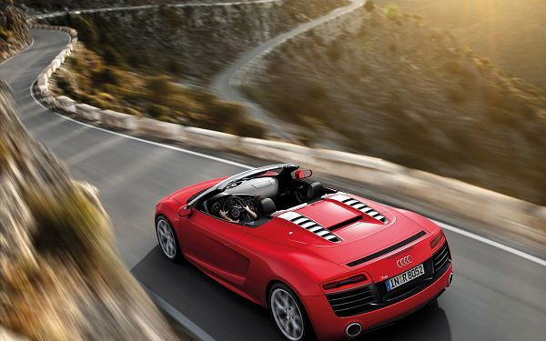 Red Audi R8 Running Fast on a Winding Road, Never Compromise on Speed, This is Such a Great Car - HD Cars Wallpaper