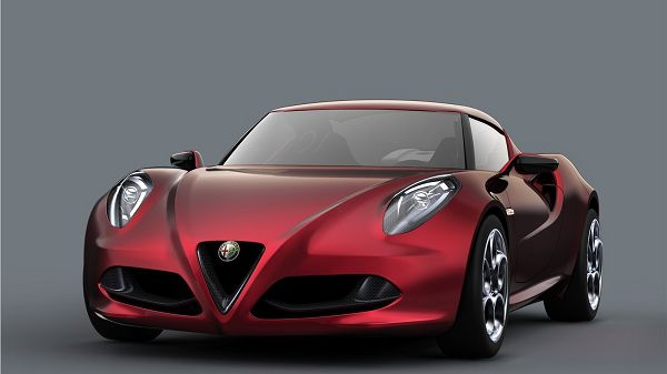 click to free download the wallpaper---Red Car and Grey Background Combined, a Stopping Car Can Remind One of Decency and Great Speed - Alfa Romeo Wallpaper