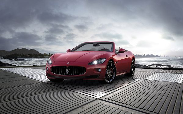 Red Maserati Car Getting a New Drive Started, Sprays Are Cheering and Watching This Over, It Must be an Amazing Journey - HD Cars Wallpaper